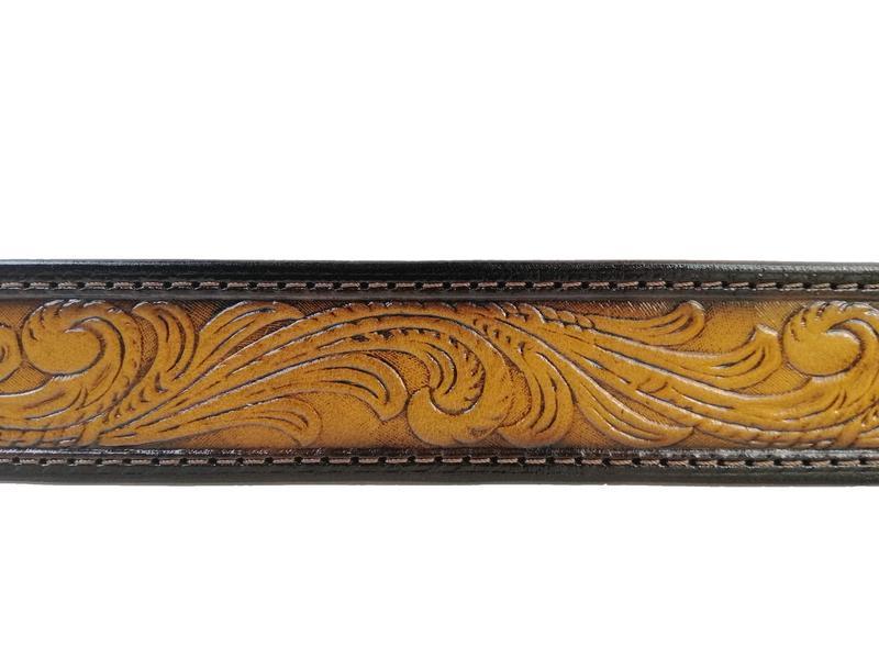 Шкіряний ремінь градієнт світло-коричневий «Квітковий» (12 кольорів)