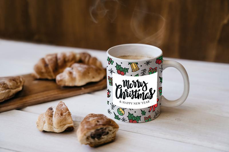 """Новогодняя чашка с принтом """"Merry Christmas"""""""