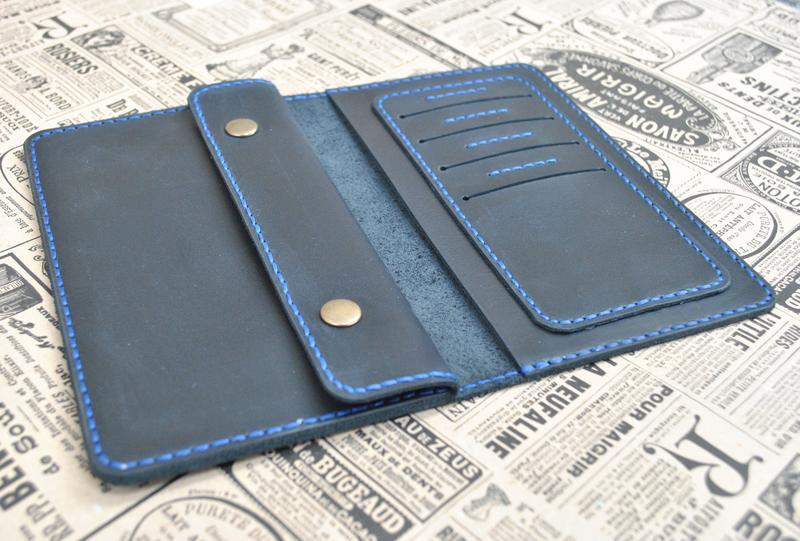 Темно-синий кошелек из кожи K09-600+blue