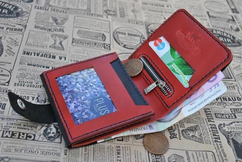 Черно-красный кошелек тройного сложения K02-0+580+black