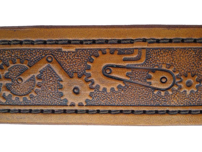 Світло-коричневий шкіряний ремінь «Механізм» (12 кольорів)