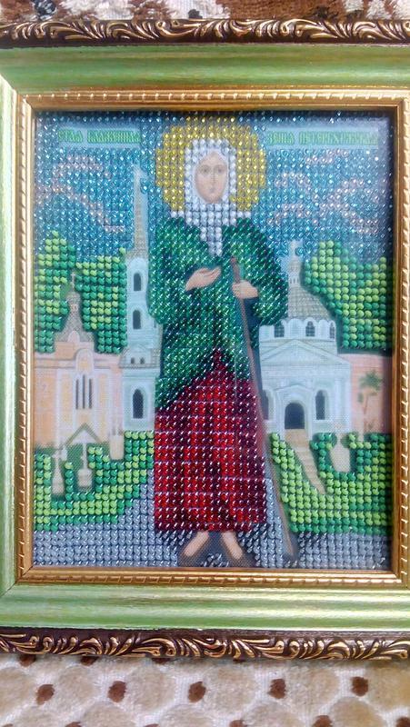 """Картина """"Ікона """"Ксенія Петербурзька"""" вишита чеським бісером"""