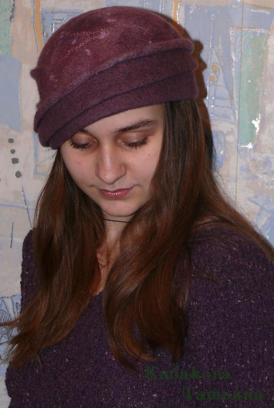 """Валяне капелюх """"Містичний фіолет"""""""