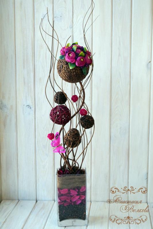 """Топіарі """"Фуксія"""", кавове дерево ручної роботи"""