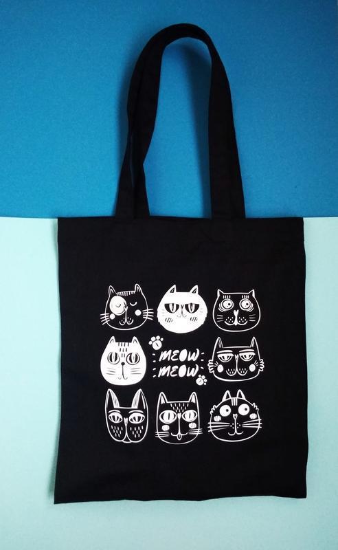 Экосумка кот Киев, шоппер, екосумка кіт київ, эко-сумка коты киев, авоська, шоппер котики