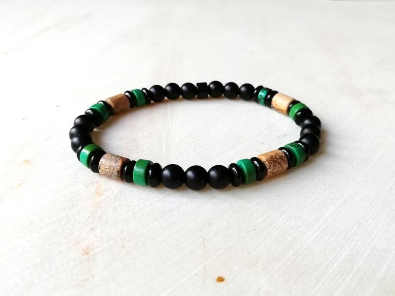 Мужской браслет - оникс, агат, пейзажная яшма и бирюза
