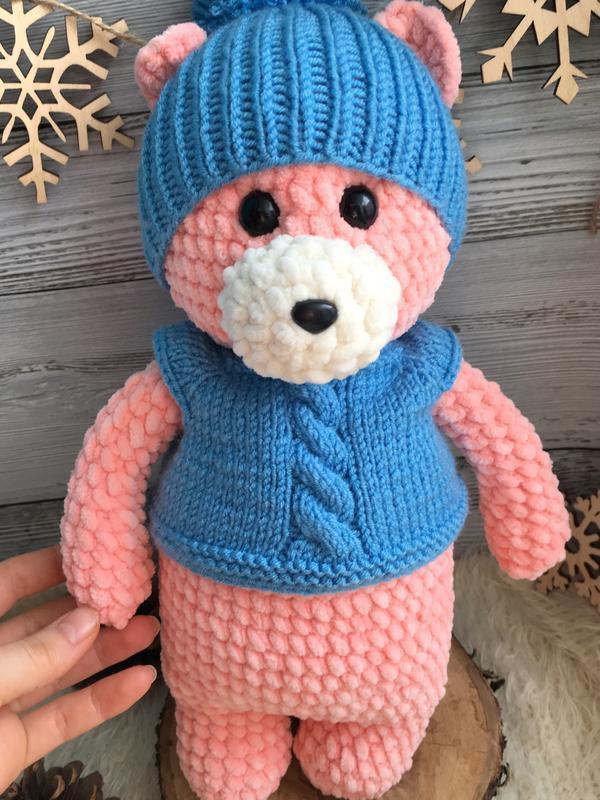 Мягкая игрушка медведь, вязаный мишка, подарок на день рождения девочке
