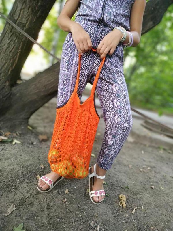 Вязаная эко-сумка для покупок, Сумка - авоська. Цвет - оранжевый.