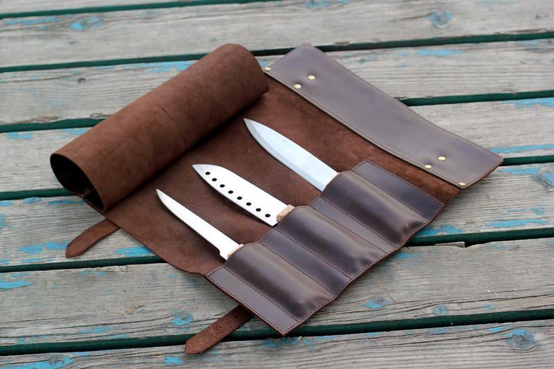 Кожаная скрутка для ножей / Рулон для ножей / Сумка для ножей / Чехол для ножей /