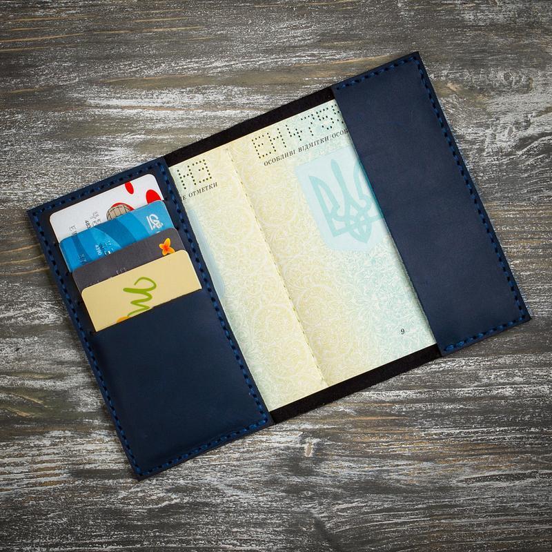 Синя шкіряна обкладинка на паспорт