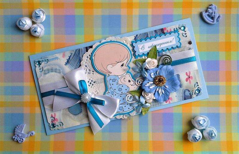 Стильная открытка с новорожденным мальчиком, картинки