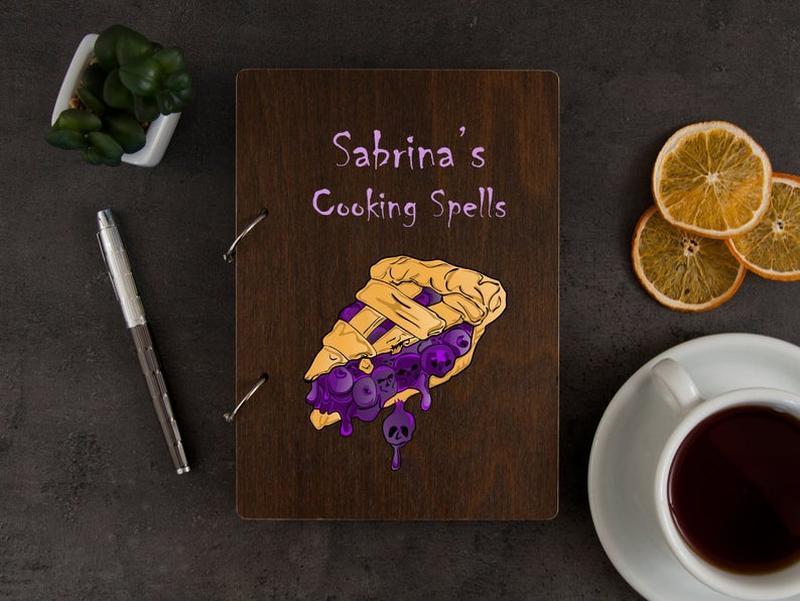 Книга для рецептов «Пирог» с цветной печатью в деревянной обложке
