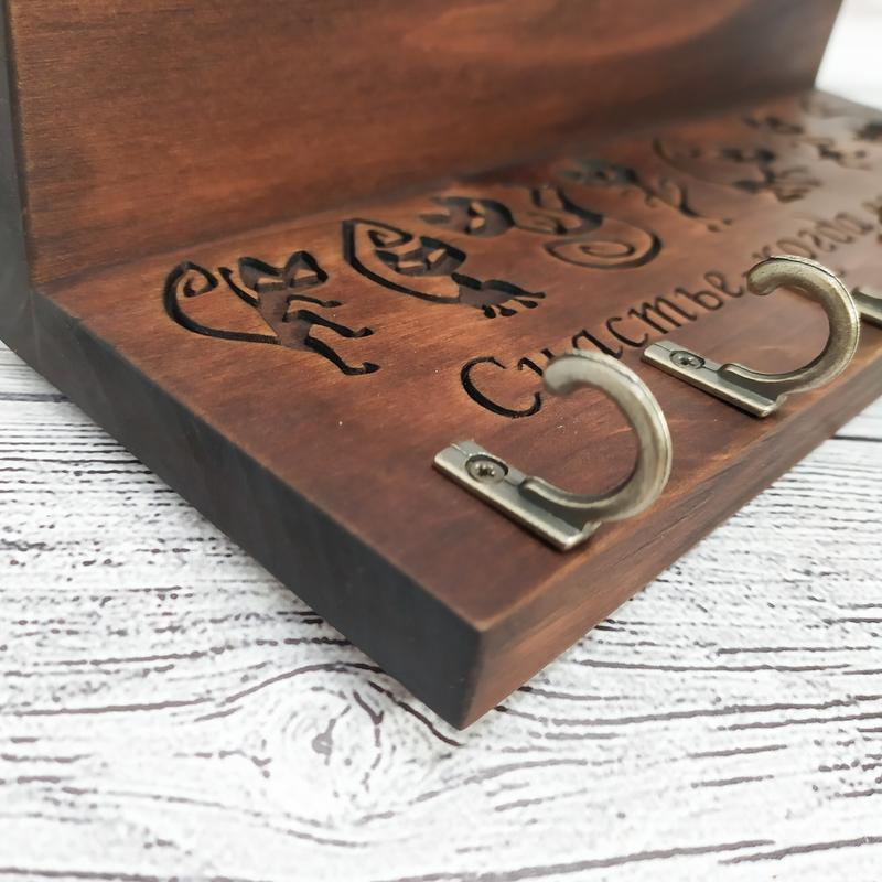 Деревянная настенная вешалка, ключница, нанесение любых надписей