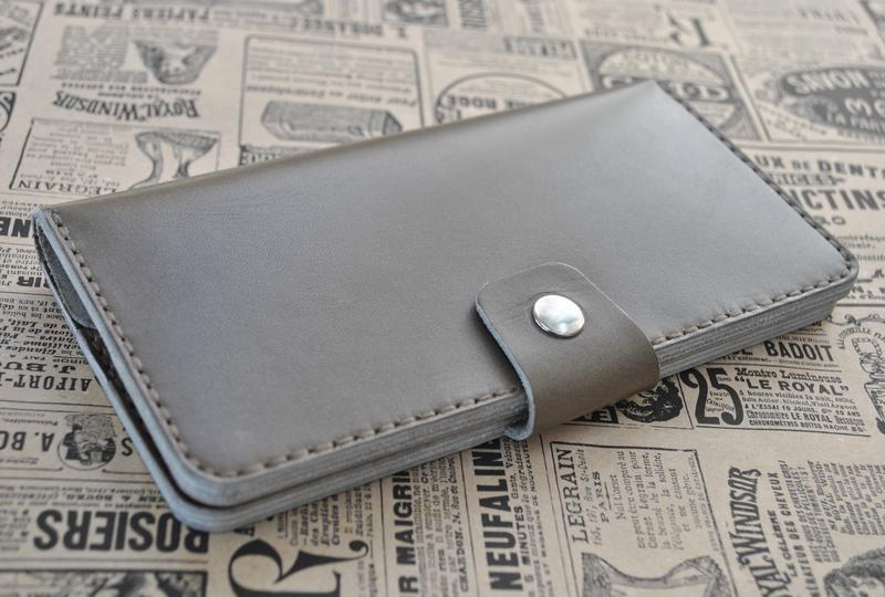 Кожаный вместительный кошелек K97-серый