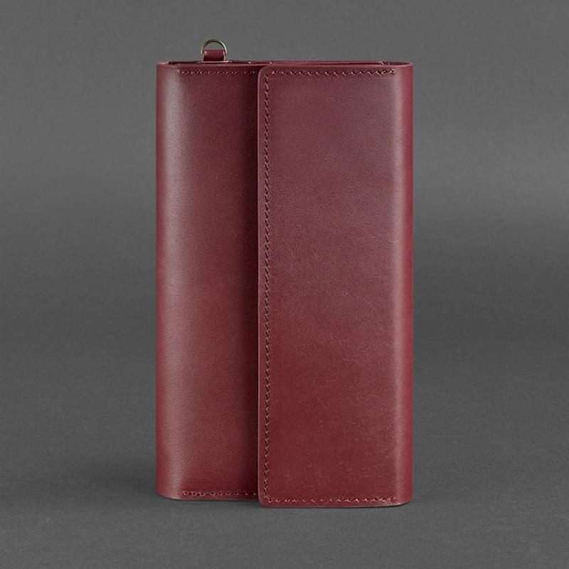 Кожаный женский клатч-органайзер (Тревел-кейс) 5.1 бордовый