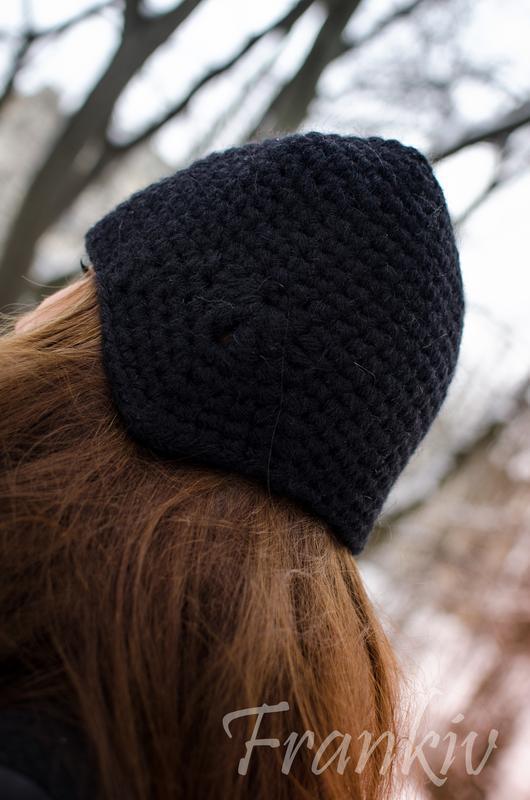 Чорна тепла шапка з  Мега Альпаки