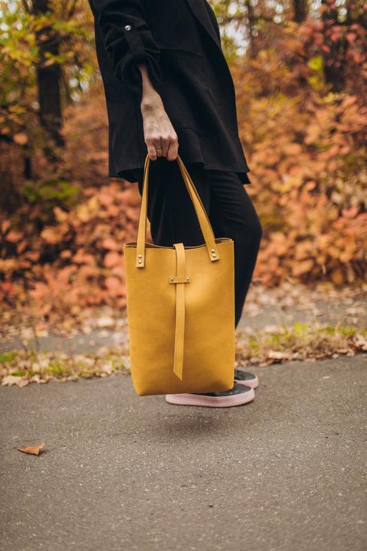 Горчичная сумка-шоппер из натуральной кожи Крейзи Хорс, стильна сумка зі шкіри, бежева кожаная сумка