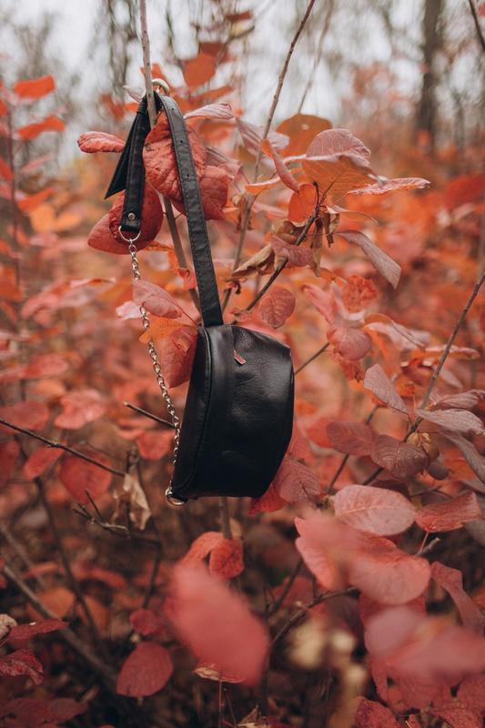 Стильная сумка через плечо, Бананка кожаная, маленькая сумка из кожи