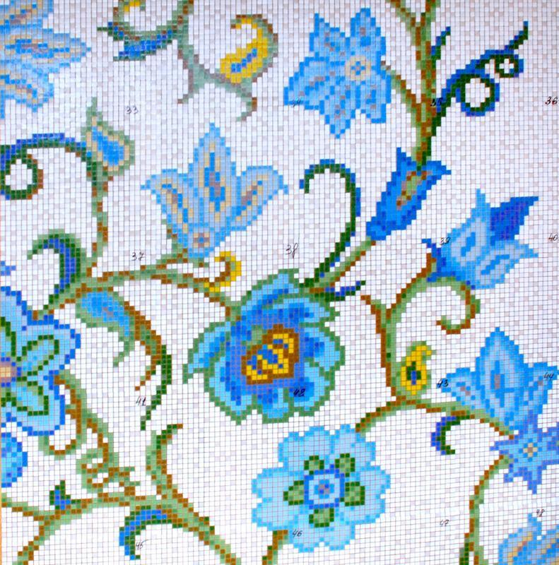Цветочный декор из мозаики для ванной комнаты