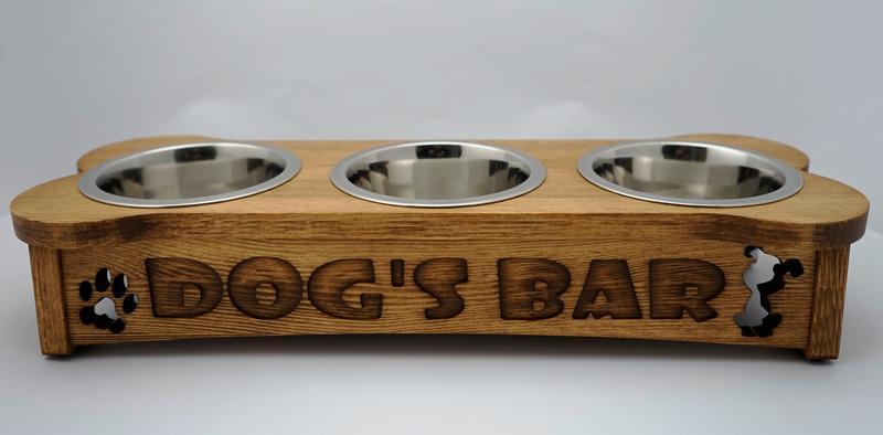 Три миски на подставке PET's BAR для собак Косточка с надписью
