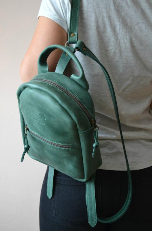 Рюкзак міні з натуральної шкіри Crazy horse (малахіт). Натуральна шкіра