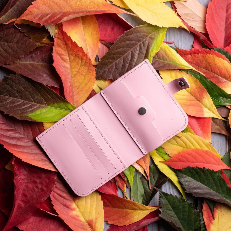 Ярко-розовый кошелек с монетницей из натуральной кожи Руби от мастерской Hidemont 0152