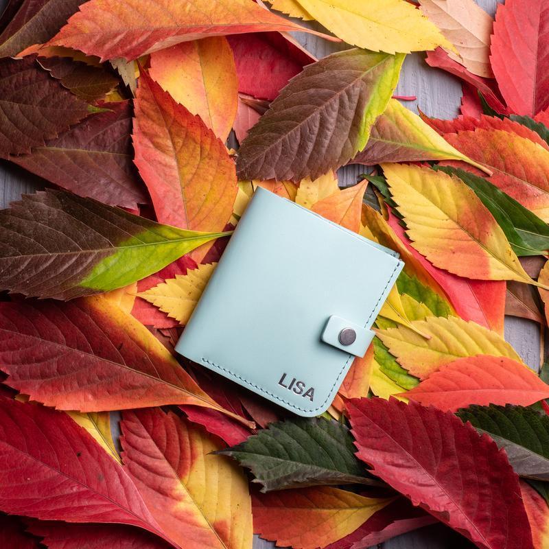 Бирюзовый кошелек с монетницей из натуральной кожи Руби от мастерской Hidemont 0152