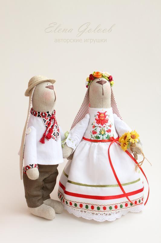 """Пара зайчиків """"Весілля в народному стилі"""""""