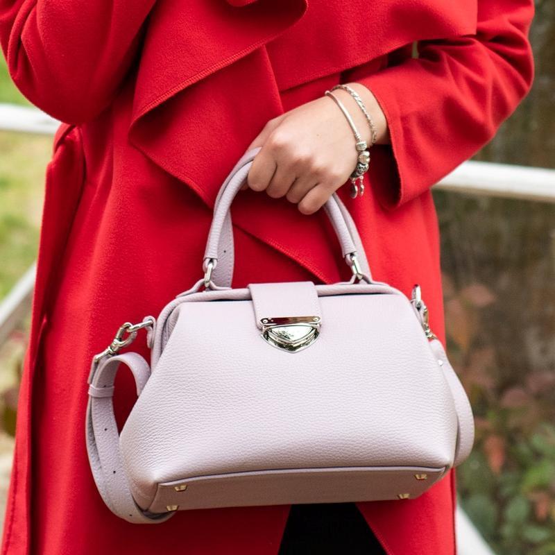 Кожаная сумка-саквояж Фэйт из итальянской кожи в нежно-розовом цвете