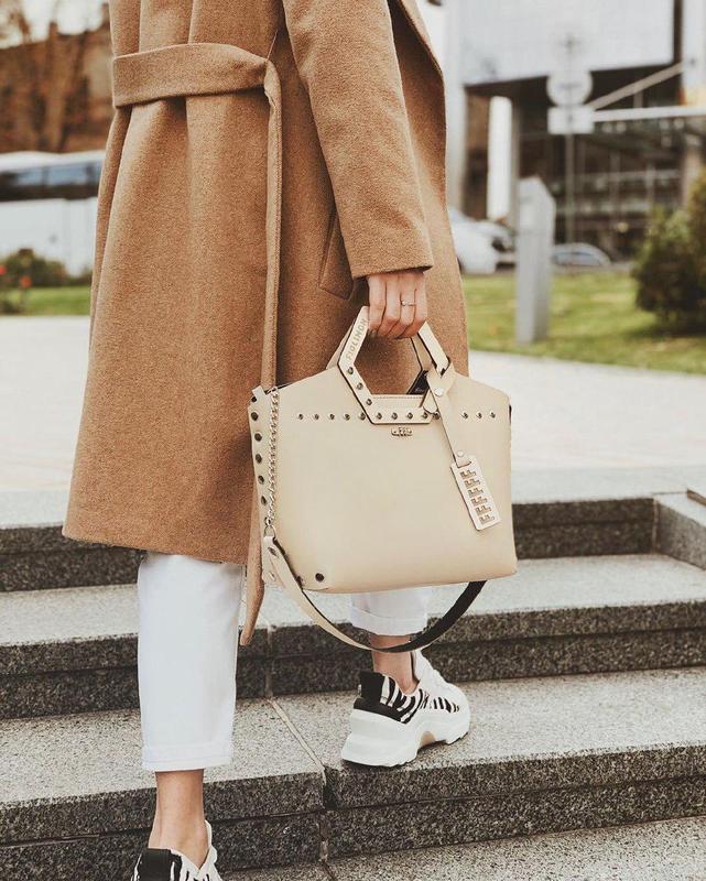 Элегантная женская сумка FIGLIMON SIMPLE| бежевая