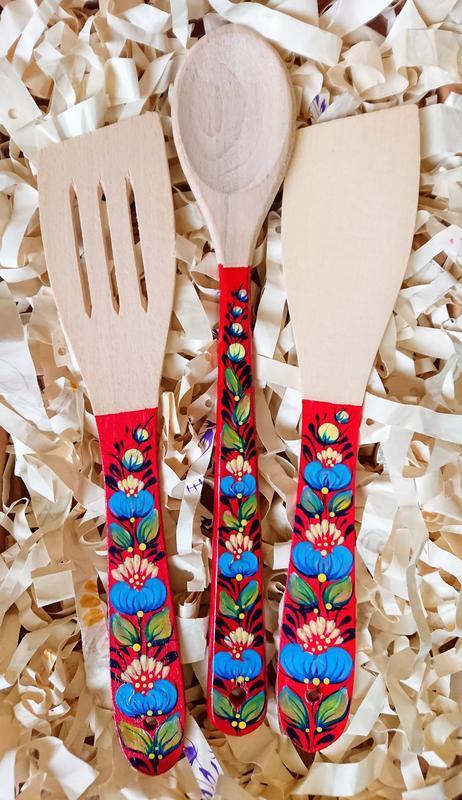 Деревянный подарочный кухонный набор лопатка, ложка и шумовка Петриковская роспись