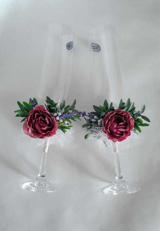 """Свадебные бокалы """"Прованс"""" / розы и лаванда"""