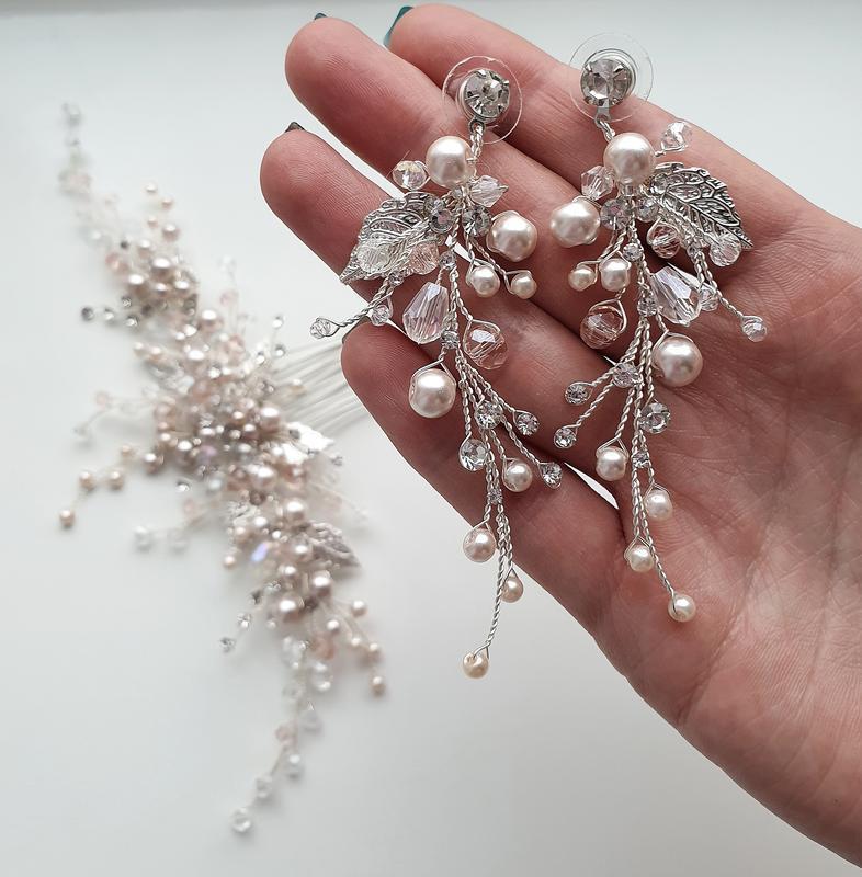 Комплект украшений для невесты. свадебные украшения , пудровые украшения для невесты, гребень
