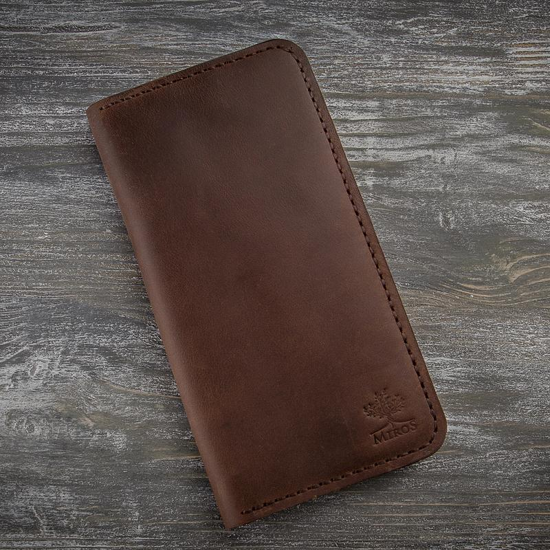 Чоловіче коричневе шкіряне портмоне гаманець