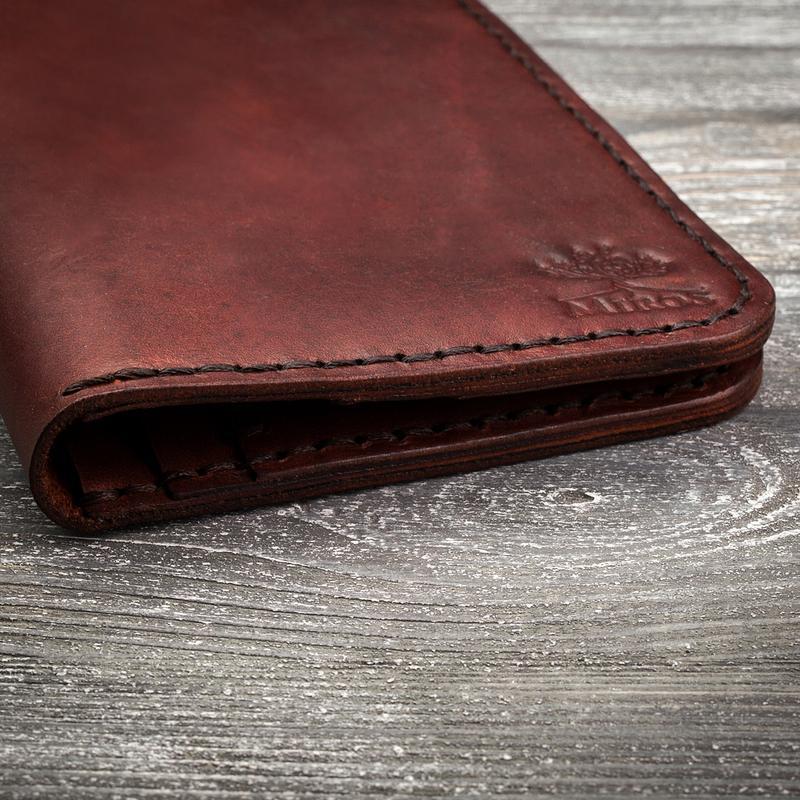 Шкіряний чоловічий коричневий гаманець портмоне