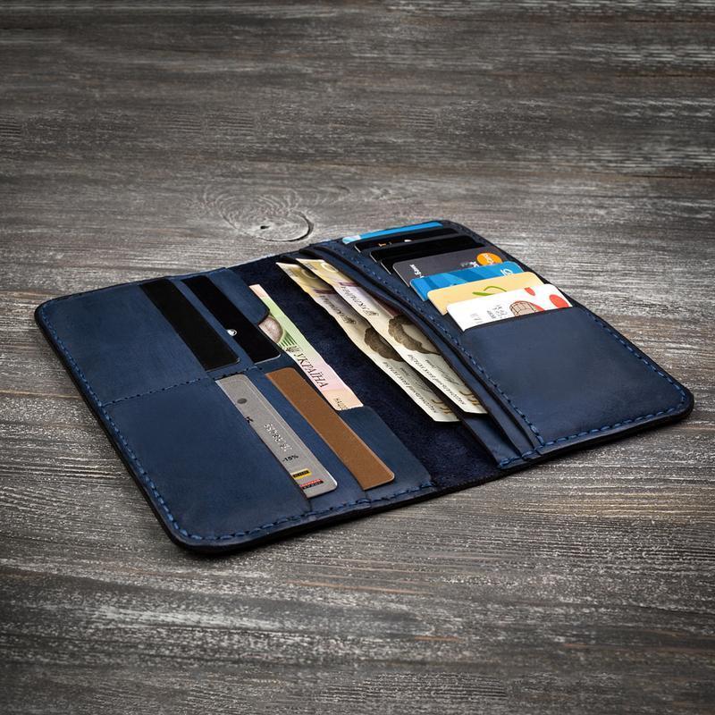 Синій чоловічий шкіряний гаманець портмоне