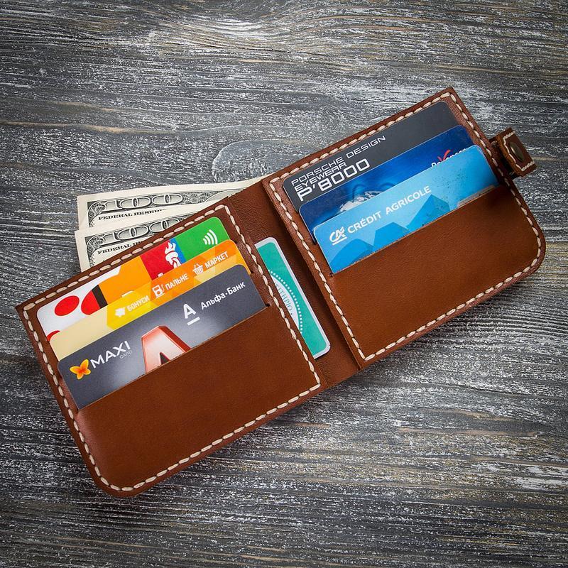 Шкіряний коричневий чоловічий гаманець