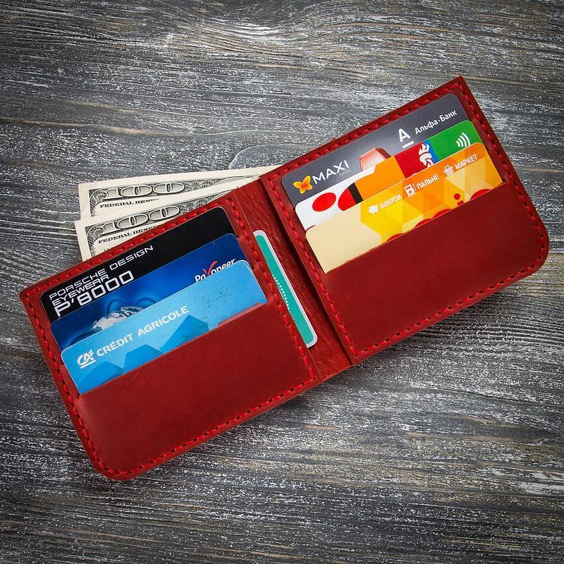 Червоний маленький шкіряний жіночий гаманець