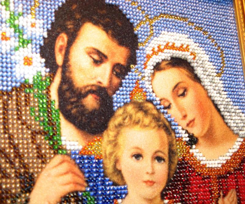 Ікона вишита чеським бісером Святе сімейство