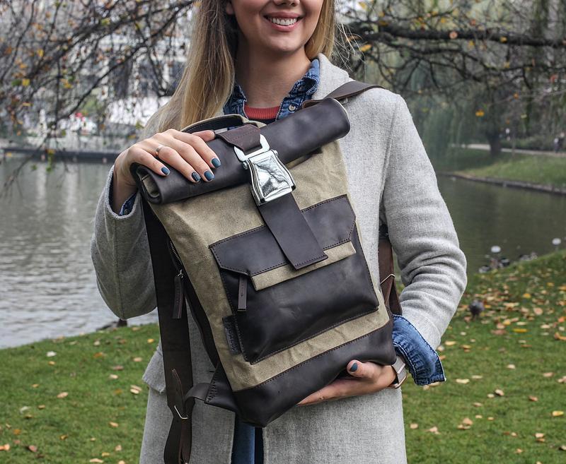 Рюкзак из кожи и вощеного канваса
