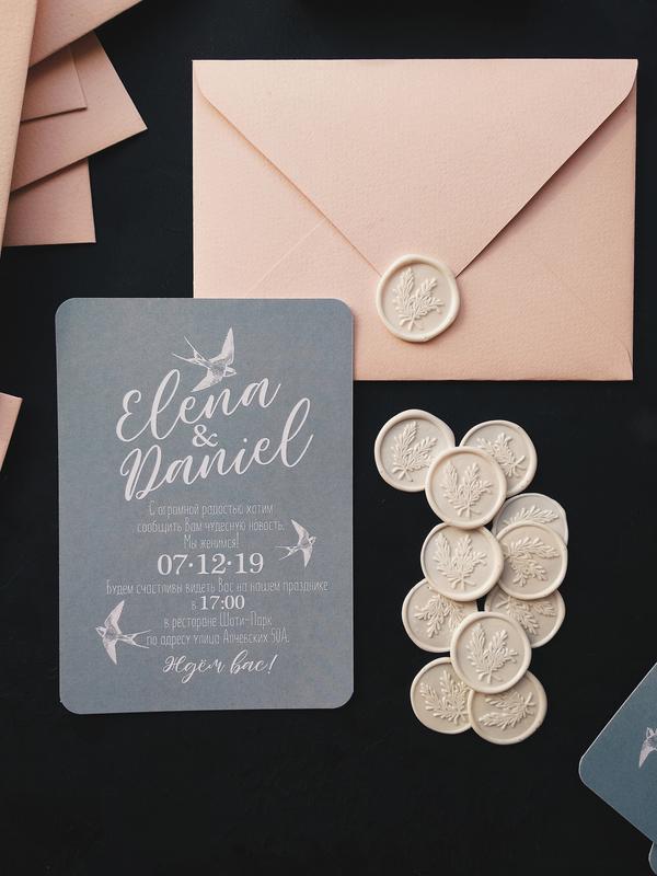 """""""MNML birds grey"""" Свадебные приглашения/подарочные сертификаты ручной работы формата А6 комплект"""
