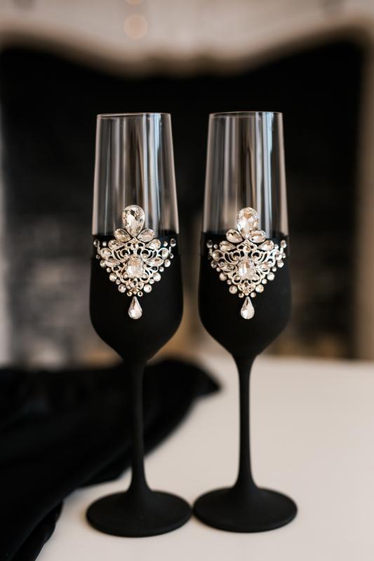 Свадебные бокалы Черные с серебром