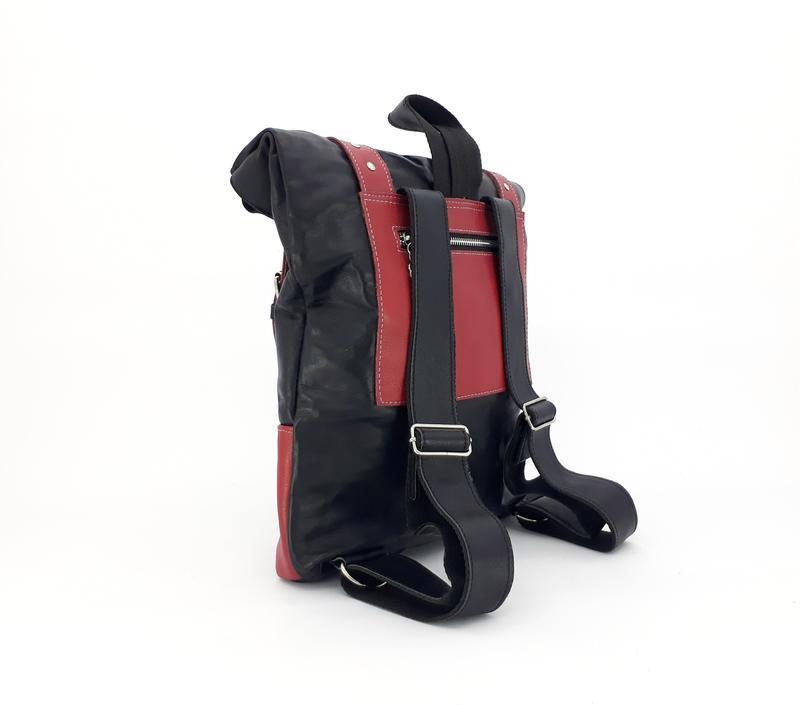 """Кожаный рюкзак большой """"Ажгон"""" черный с розовым, яркий городской рюкзак"""