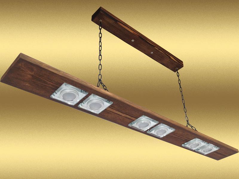 Люстра подвесная на цепях из дерева