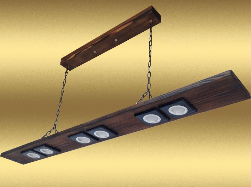 Люстра подвесная на цепях из дерева. Модель PL0104