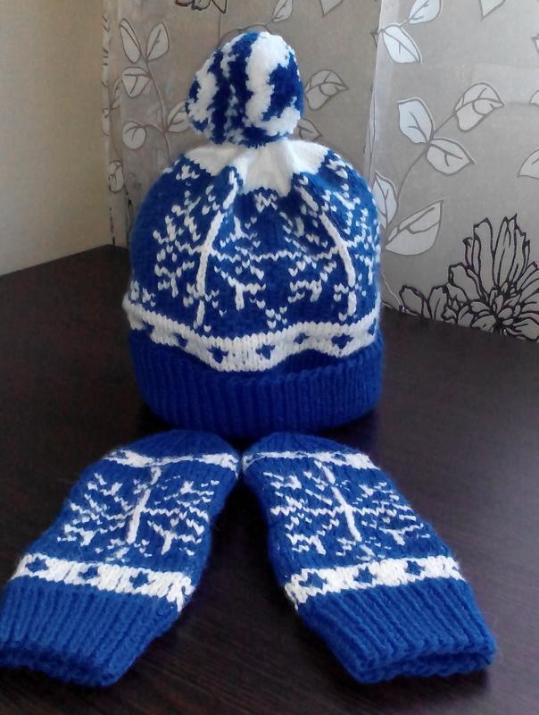 комплект шапка + рукавички ручної роботи