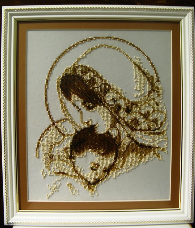 Ікона Мадонна з немовлям, вишита бісером ческим