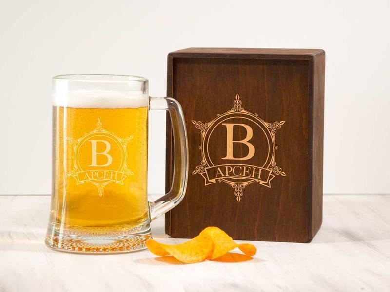 Подарочный бокал для пива с именной лазерной гравировкой
