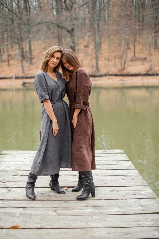 Платье-трансформер, платье оверсайз, широкое платье, миди, сукня-трансформер, сукня з льону
