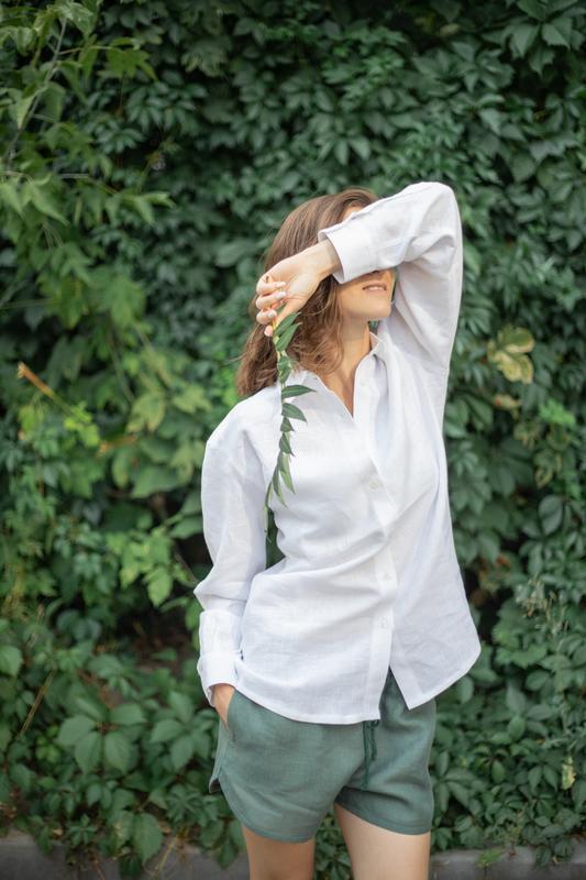 Лляна сорочка,сорочка оверсайз,сорочка з льону,біла сорочка,класична сорочка,сорочка з льону